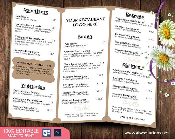 Free Printable Restaurant Menu Templates French Menutemplates Printable Restaurant Menu Template