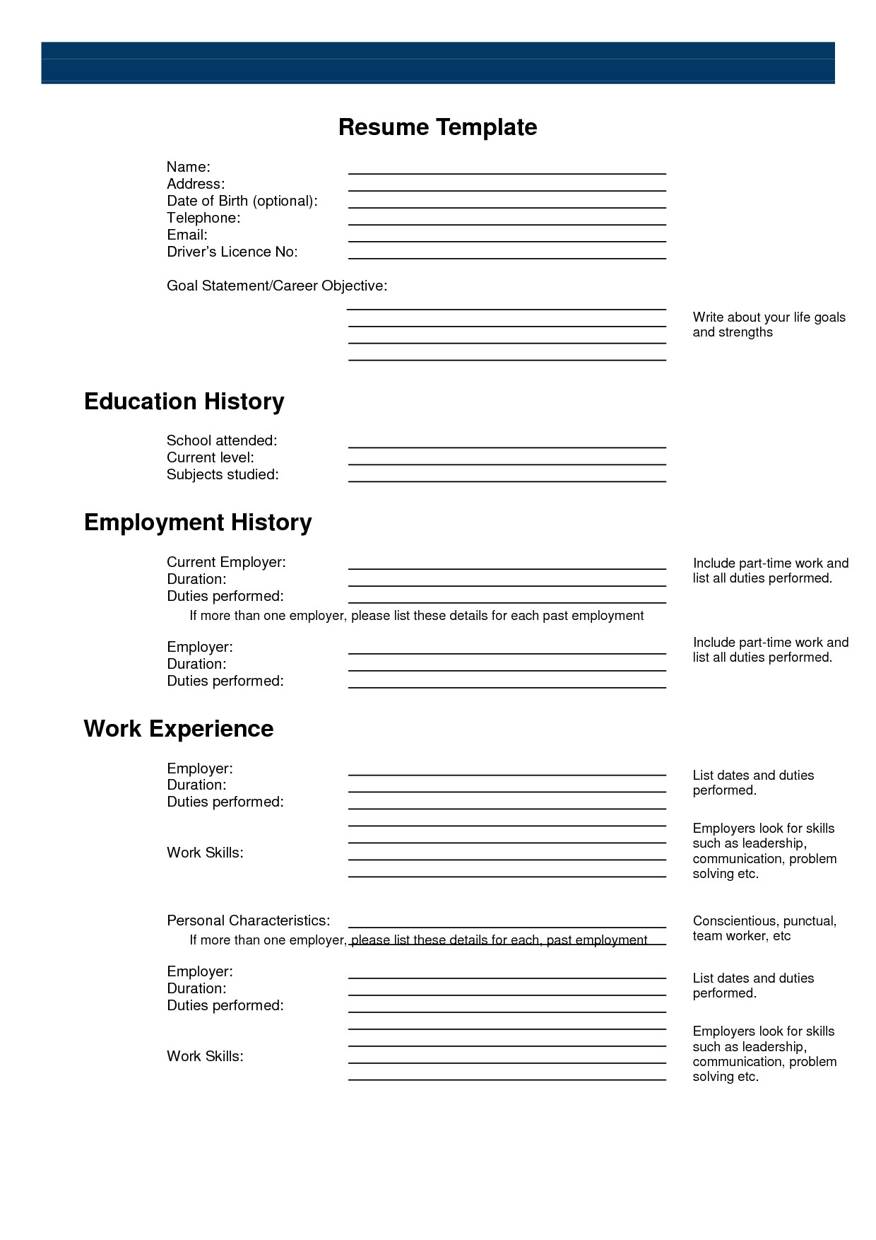 Free Printable Resume Templates Free Printable Sample Resume Templates