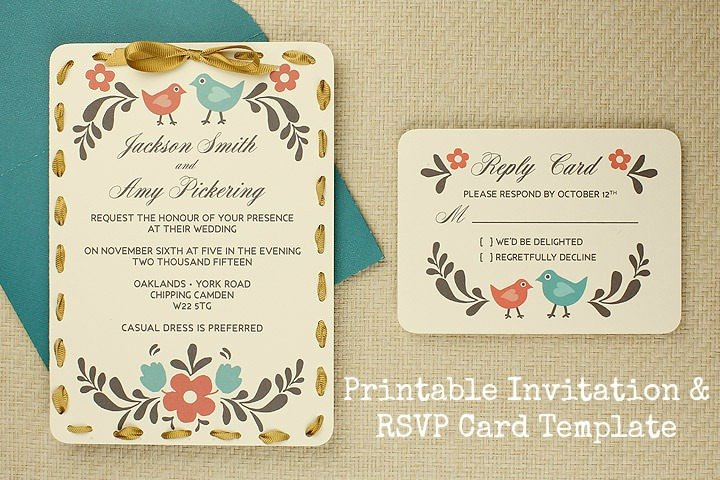 DIY Tutorial FREE Printable Invitation and RSVP Card