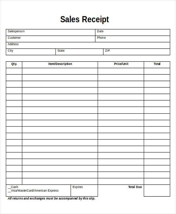 Free Printable Sales Receipt Template Printable Sales Receipt Sample 7 Examples In Word Pdf