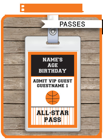 Free Printable Vip Pass Template Basketball Party All Star Vip Passes Template