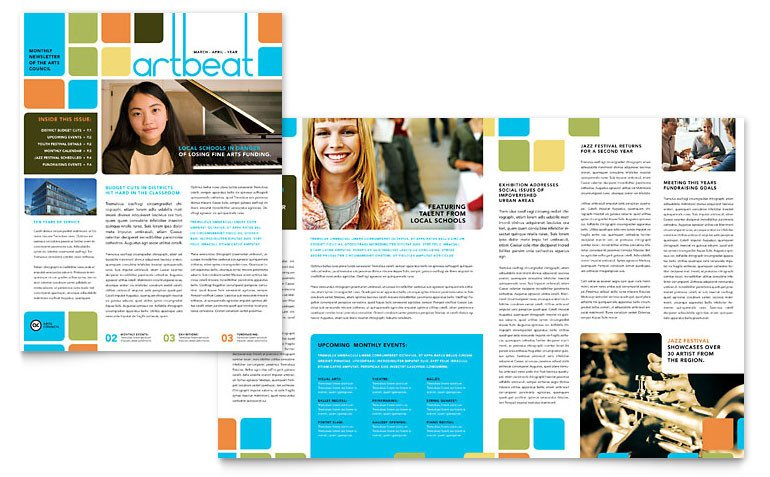 Free Publisher Newsletter Templates Arts Council & Education Newsletter Template Word
