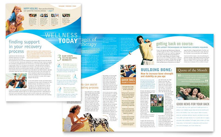 Free Publisher Newsletter Templates Physical therapist Newsletter Template Word & Publisher