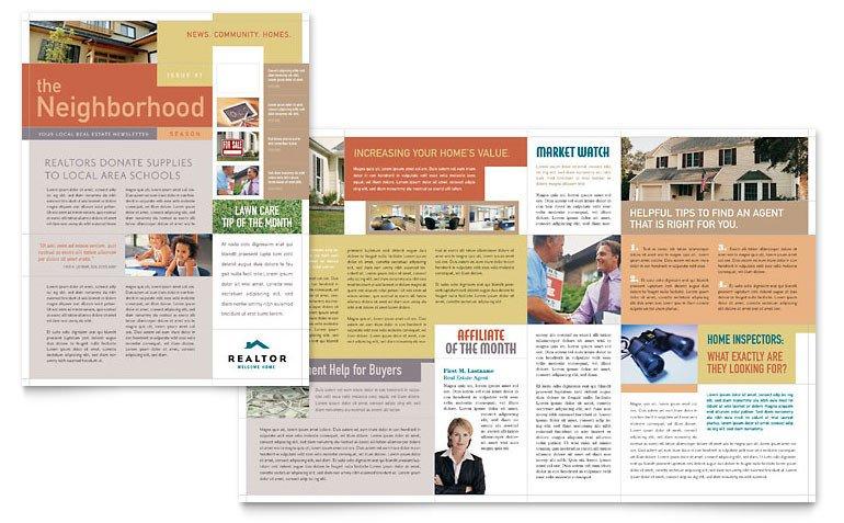 Free Publisher Newsletter Templates Realtor & Real Estate Agency Newsletter Template Word