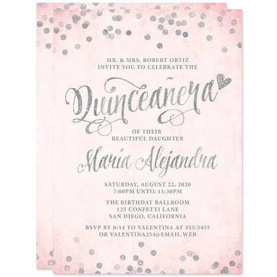 Free Quinceanera Invitation Templates Quinceañera Invitations Blush Pink & Silver Confetti