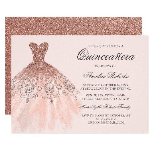 Free Quinceanera Invitation Templates Rose Gold Sparkle Dress Quinceanera Invitation