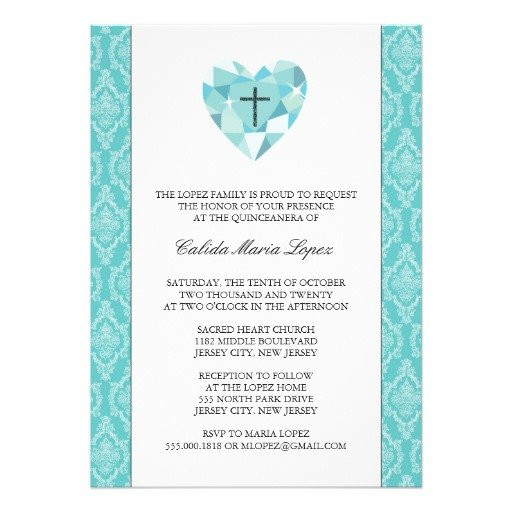 "Free Quinceanera Invitation Templates Teal Damask Quinceanera Invitations 5"" X 7"" Invitation"