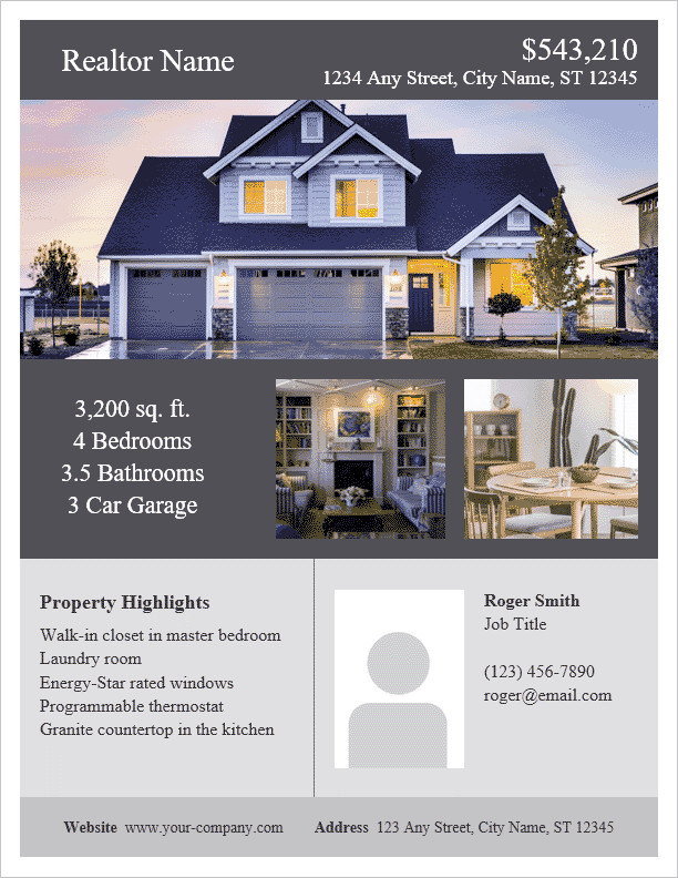 Free Real Estate Brochure Templates Real Estate Flyer Template for Word