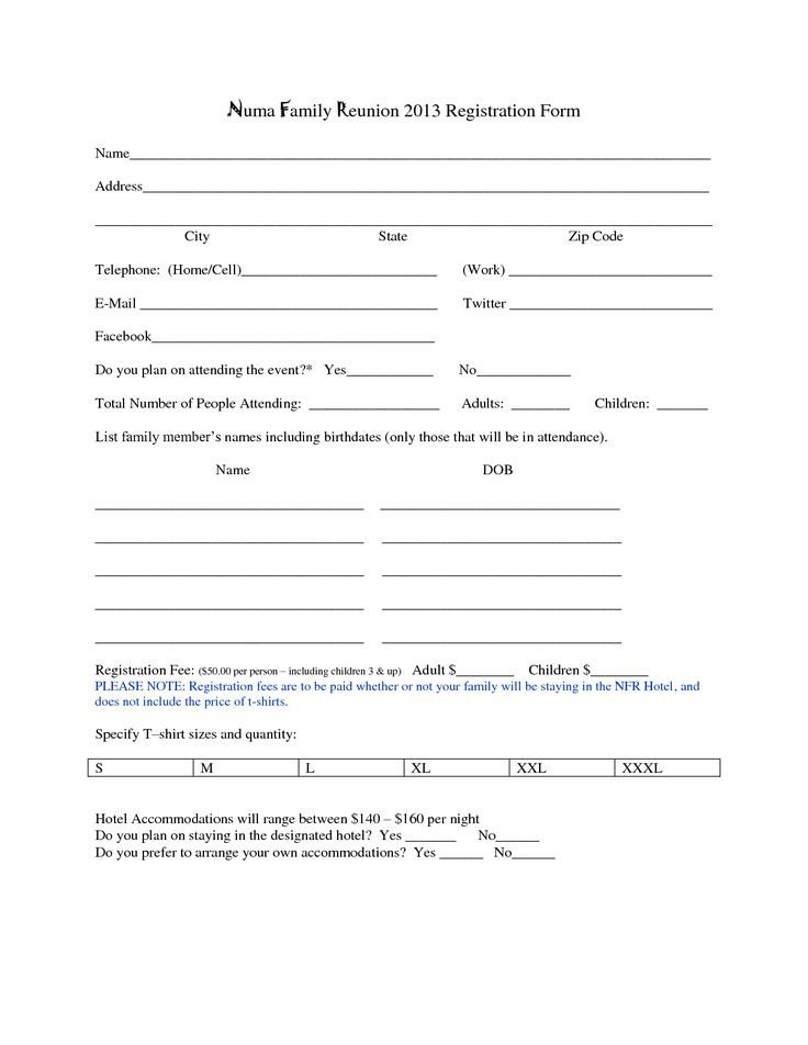 Free Registration forms Template Family Reunion Registration form Template