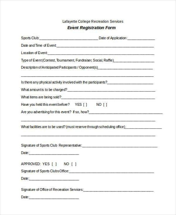 Free Registration forms Template Registration form Templates