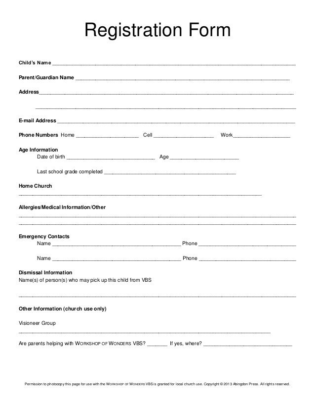 Free Registration forms Template Registration form Vbs