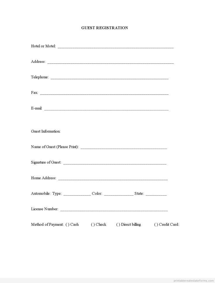 Free Registration forms Template Sample Printable Guest Registration form