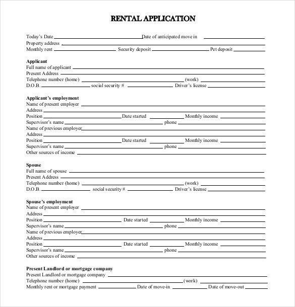 Free Rental Application form Template 13 Rental Application Templates – Free Sample Example