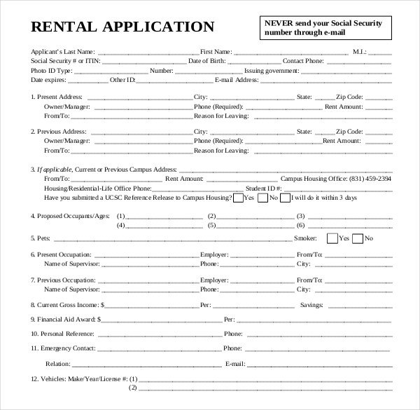 Free Rental Application form Template Rental Application Template – 12 Free Word Pdf Documents