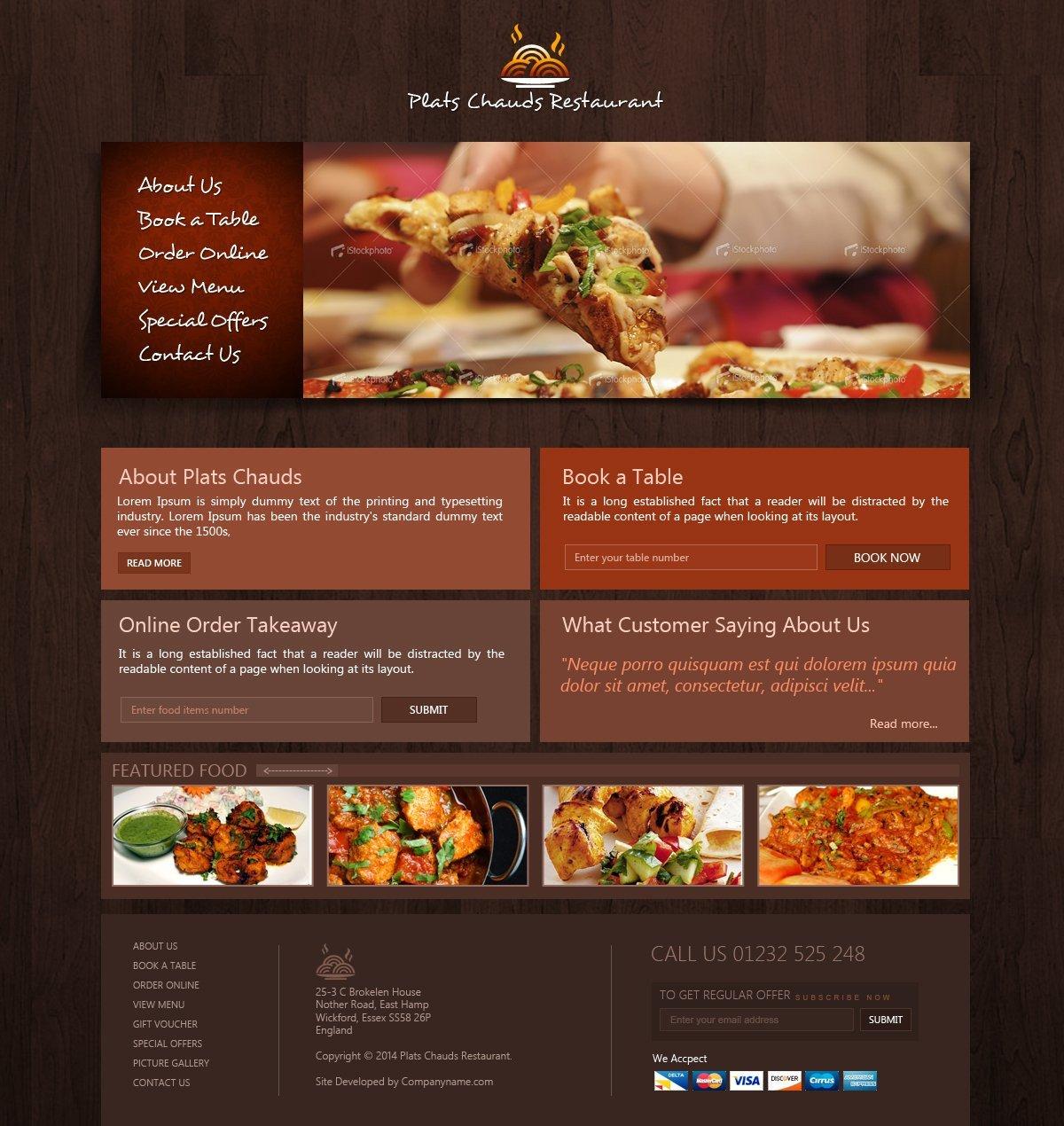 Free Restaurant Website Template Creativegeek