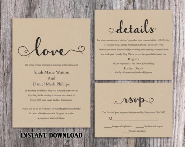 Free Rustic Wedding Invitation Templates Diy Burlap Wedding Invitation Template Set Editable Word