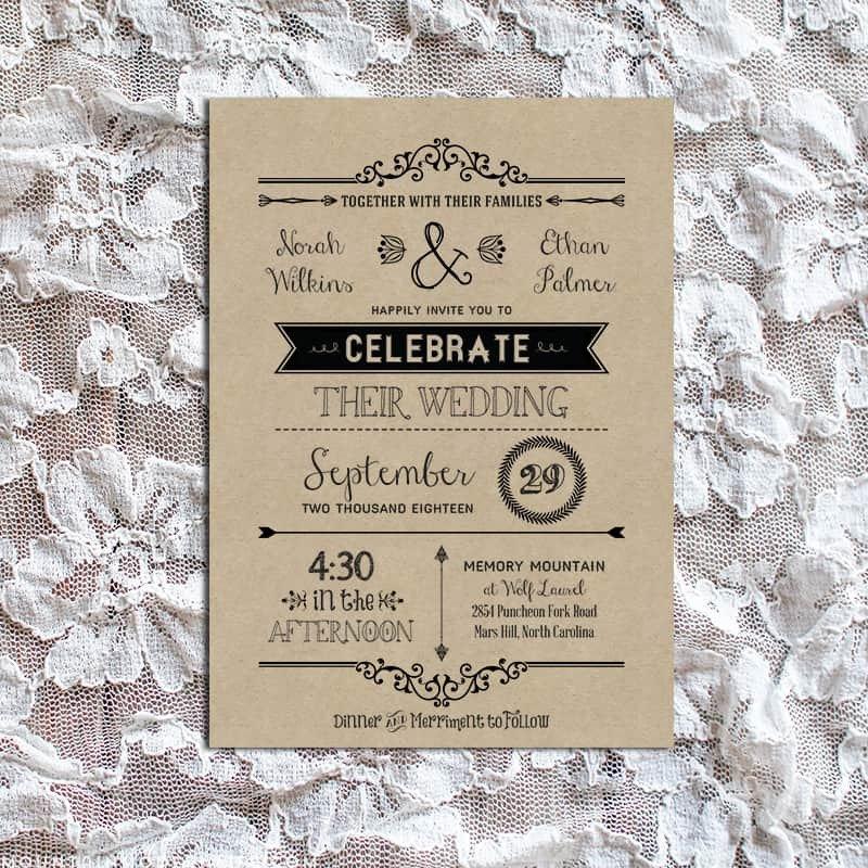 Free Rustic Wedding Invitation Templates Vintage Rustic Diy Wedding Invitation Template
