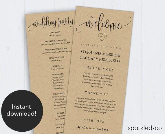 Free Rustic Wedding Program Templates Best 25 Wedding Program Templates Ideas On Pinterest