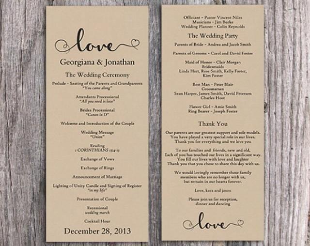 Free Rustic Wedding Program Templates Burlap Wedding Program Template Diy Editable Word File