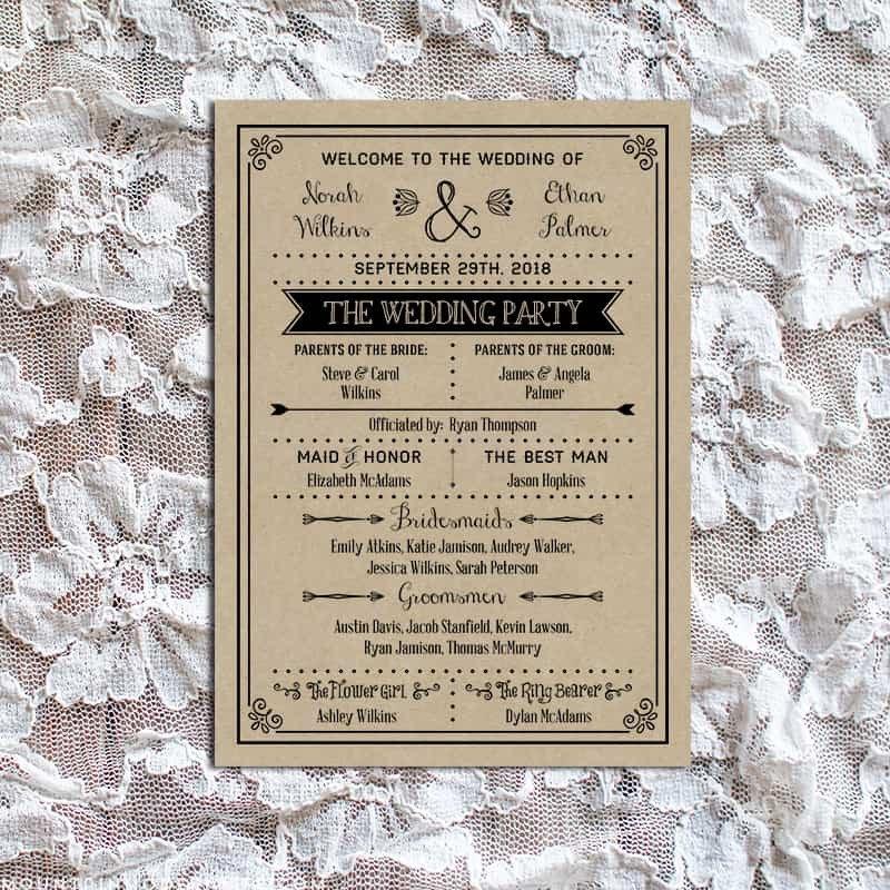 Free Rustic Wedding Program Templates Diy Wedding Program Fan