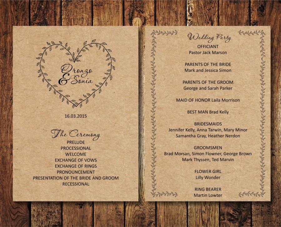Free Rustic Wedding Program Templates Editable Wedding Program Rustic Kraft Wedding Program