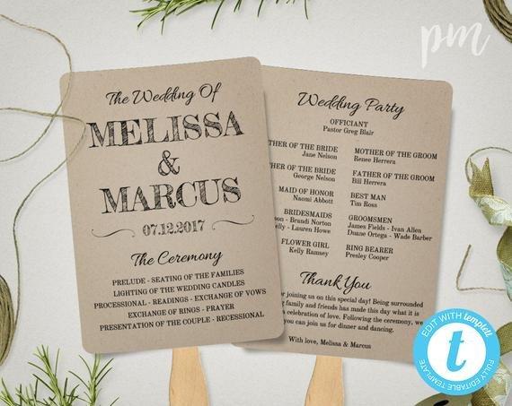 Free Rustic Wedding Program Templates Rustic Wedding Program Fan Template Fan Wedding Program