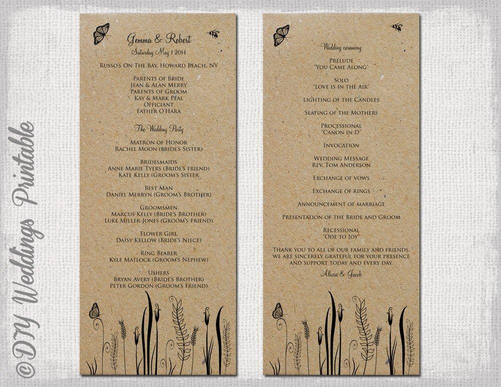 Free Rustic Wedding Program Templates Rustic Wedding Program Template butterfly Meadow