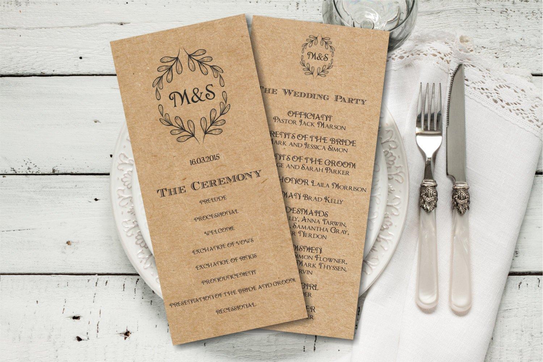 Free Rustic Wedding Program Templates Rustic Wedding Program Template Download Editable Text Kraft