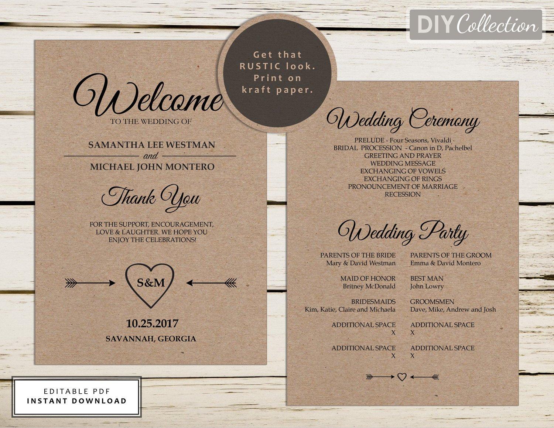 Free Rustic Wedding Program Templates Rustic Wedding Program Template Printable Wedding Programs