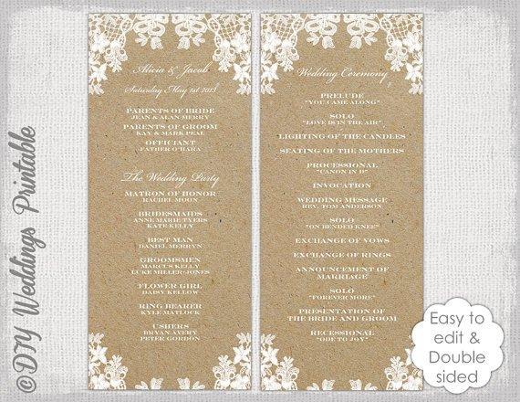 Free Rustic Wedding Program Templates Rustic Wedding Program Template Rustic Lace Diy