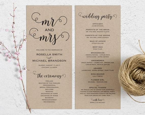 Free Rustic Wedding Program Templates Rustic Wedding Program Template Wedding Ceremony Program