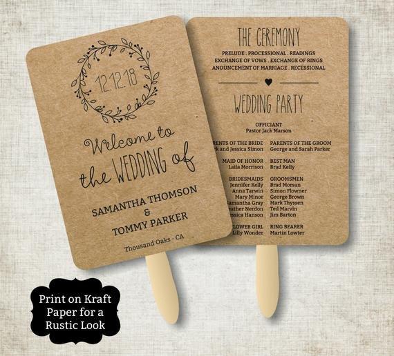 Free Rustic Wedding Program Templates Vintage Wedding Program Fan Template Rustic Kraft Classic