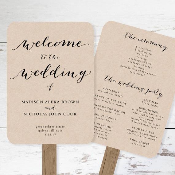 Free Rustic Wedding Program Templates Wedding Program Fan Template Printable Rustic Wedding Fan