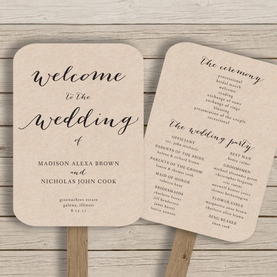Free Rustic Wedding Program Templates Wedding Program Fan Template Printable Rustic Wedding