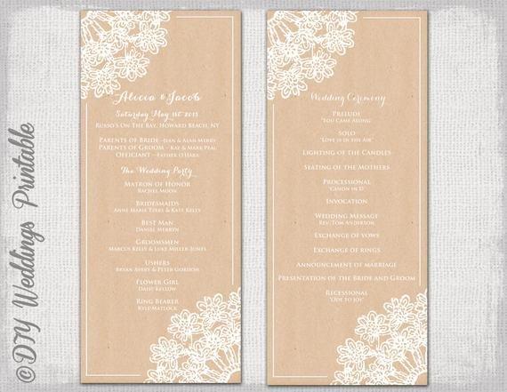 Free Rustic Wedding Program Templates Wedding Program Template Rustic Wedding by