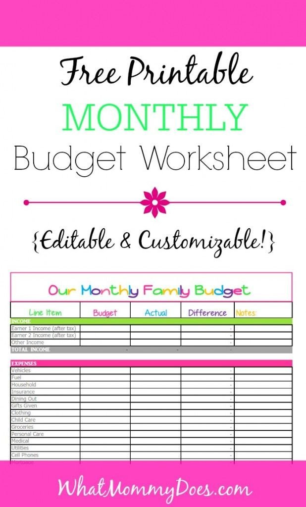 Free Simple Budget Template Cute Monthly Bud Printable – Free Editable Template