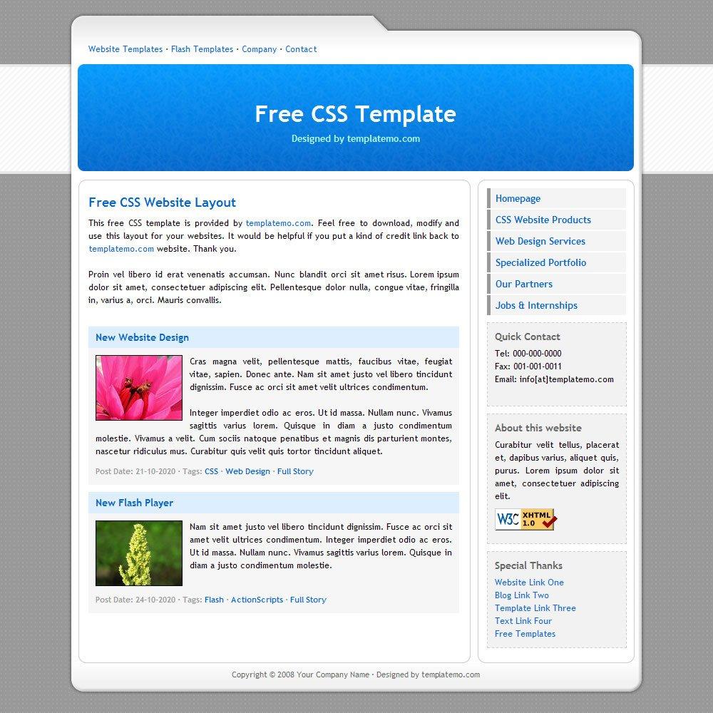 Free Simple Website Templates 007 Simple Blue Template