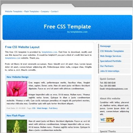 Free Simple Website Templates Simple Blue Free Website Templates In Css Js format