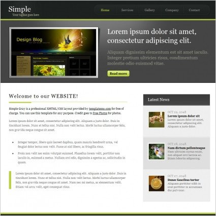 Free Simple Website Templates Simple Gray Free Website Templates In Css Js format