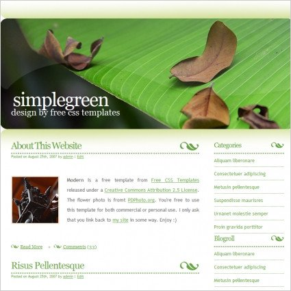 Free Simple Website Templates Simple Green Free Website Templates In Css Js