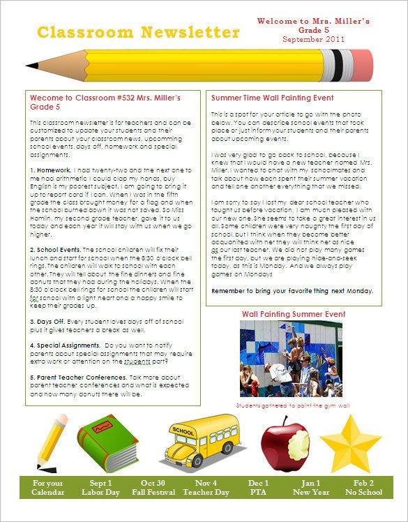 Free Teacher Newsletter Templates 27 Microsoft Newsletter Templates Doc Pdf Psd Ai