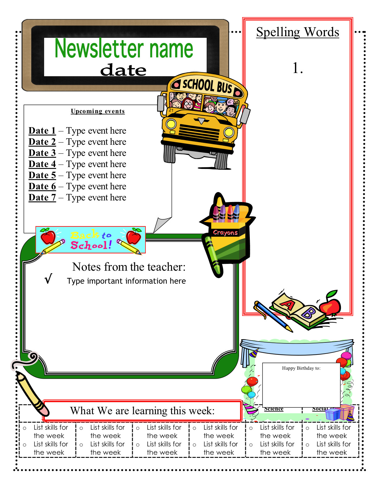 Free Teacher Newsletter Templates 3 6 Free Resources June 2012