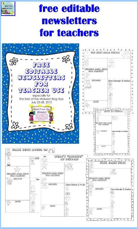 Free Teacher Newsletter Templates Editable Newsletters for Teachers Five Templates Free Pdf