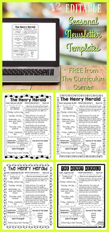 Free Teacher Newsletter Templates Editable Seasonal Newsletter Templates the Curriculum
