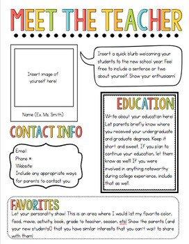 Free Teacher Newsletter Templates Meet the Teacher Newsletter Template by the Pixie Dust