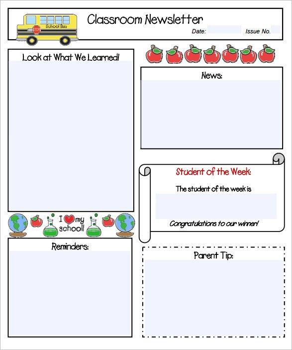 Free Teacher Newsletter Templates Sample Kindergarten Newsletter Template 15 Free