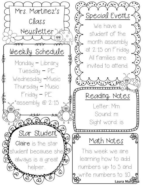 Free Teacher Newsletter Templates Teacher Laura Editable Class Newsletter Template