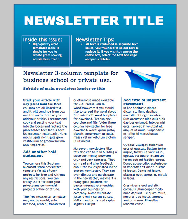 Free Templates for Microsoft Word Word Newsletter Template – 31 Free Printable Microsoft