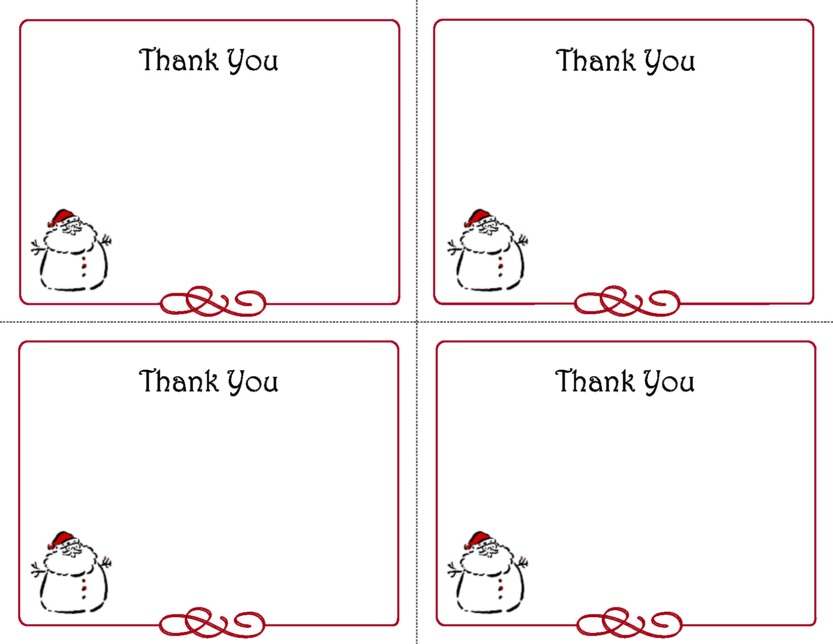 Free Thank You Card Template Printable Christmas Thank You Card Templates