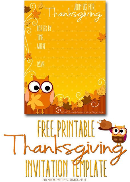 Free Thanksgiving Invitation Templates Free Printable Party Invitations Thanksgiving Invite Template